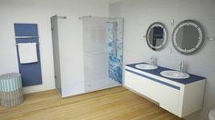 Conceito Ocean Espelho, lavatório, base de duche, resguardo de banho e painel de banho.  Concept Ocean Mirror, washbasin, shower tray, shower enclosure and shower pannel.  #biselarte #ocean
