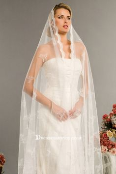 images of wedding gowns & veils | long embroidery veils
