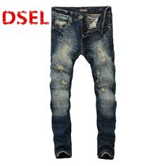 24.61$  Watch here - http://ali227.shopchina.info/1/go.php?t=32804876189 - Fashion Dark Blue Print Jeans Men Original Brand Jeans Ripped Denim Trousers Men`s Jeans High Quality Male Jeans B608  #buychinaproducts