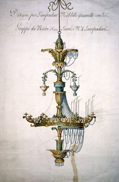whitehotel: Unknown artist, Design for a chandelier (18th century)