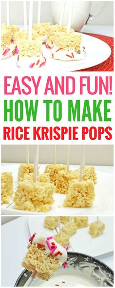 How to make Rice Krispie pops. This Rice Krispie pops recipe is the easy, fun one you've been looking for. You can make these Rice Krispie treats in no time, even with the kids helping. These would be great for a birthday, or really anytime you're craving something so good and sweet! Rice Krispie treats | Rice Krispie pops | Rice Krispie pops birthday | white chocolate dipped Rice Krispie pops | pink Rice Krispie pops | Rice Krispie pops with sprinkles | Rice Krispie pops with sprinkles and…