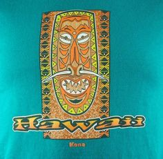 Kona Hawaii Tiki Tribal Mask Mens Aloha T Shirt Small Green | eBay