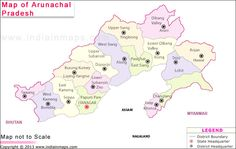 Arunachal Pradesh District Map. Political Map of Arunachal Pradesh, India. Find district map of Arunachal Pradesh. Arunachal Pradesh Map highlights all the districts of Arunachal Pradesh with their respective names, locations and boundaries.""
