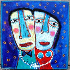 """12x12 Acrylic/collage on wood: """"We Really Only Have Each Other To Hold""""......"""