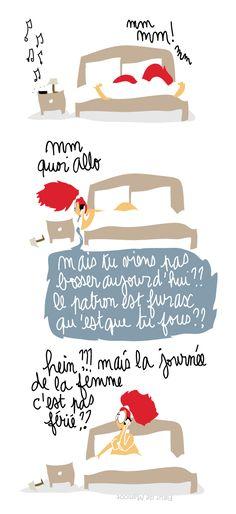 Dessin humoristique sur la journée de la femme - Et si le 8 mars, on restait couché ? Dessin d'actualité à voir sur le blog de Fleur de Mamoot