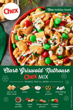 Clark himself would be wowed by this festive mix! Light, sweet and nutty, Clark Griswold™ Nuthouse Chex™ Mix is the perfect addition to your holiday snack lineup. Make it ahead and have it ready to enjoy for the unexpected guests and good times! Easy Holiday Recipes, Holiday Snacks, Christmas Party Food, Christmas Appetizers, Christmas Sweets, Christmas Cooking, Christmas Candy, Christmas Foods, Christmas Recipes