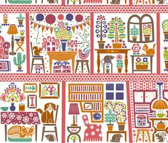 Decorative Doll House fabric by christinewitte on Spoonflower - custom fabric
