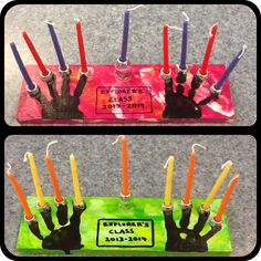 Pre-school Menorah. Paint, sponge, hand print, bolts and shellac. Please, never leave these candles lit unattended.