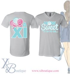 Alpha Xi Delta How Sweet It Is t-shirt! This is a custom order from Xi Boutique. Email custom@xiboutique.com to create your own custom shirt for an event.