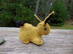 SOLD. Classy yellow and black wool felt rabbit!