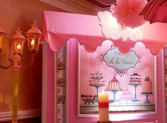 mmm, looks good enough to eat, but don't its just an adorable french cut out for a girls first birthday decor @Grand Marquis. #1stbirthday, #candytheme, #receptionhallsnj, #banquethallsnj, #weddingvenuesnj.
