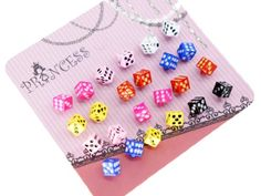 Color Dice Fashion Stud Earrings for Teen Girls Women, Pack of 12 Pairs