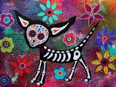 Chihuahua Dia De Los Muertos Painting  - Chihuahua Dia De Los Muertos Fine Art Print