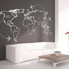 World Map Outlines Continents Sticker.