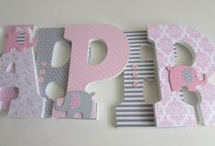 Harper 9 Inches elephant theme pink and gray by Adorablekidsdecor - Baby Nursery Today Elephant Themed Nursery, Baby Girl Elephant, Elephant Baby Showers, Girl Nursery, Dumbo Nursery, Nursery Room, Nursery Ideas, Baby Letters, Nursery Letters