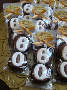 "Happy ""60th"" Birthday... Chocolate Double Cookie Party Favors... www.rosebudchocolates.com"