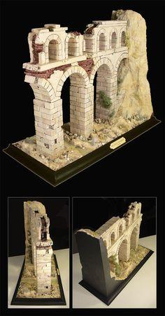 Roman aqueduct diorama. Scratch-built diorama. Styrofoam, plaster, acrylics.