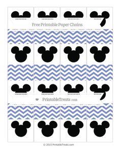 Free Pastel Dark Blue Chevron  Mickey Mouse Paper Chains