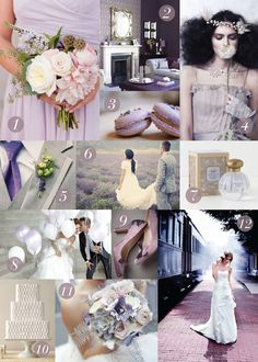 Inspiration board for the Solage letterpress save the date by Dauphine Press. This photo card and inspiration board feature shades of lavender and charcoal and has an overall vintage feel.