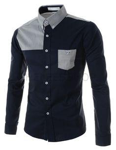 (AL539-NAVY) Mens Slim Stretchy 2 Tone Pocket Long Sleeve Shirts
