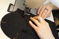 Making of the Chanel Little Black Jacket: pocket stitching. © Chanel.
