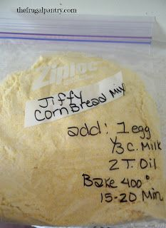 Jiffy Cornbread Mix Cornbread Mix: cup Flour cup cornmeal 3 Tablespoons sugar or sugar substitute 1 teaspoon baking powder. Label and store in pantry or freezer. To Bake Mix: In mixing bowl mix cornbread mix with: 1 egg Cup Milk 2 Tablespoons of oil Homemade Dry Mixes, Homemade Spices, Homemade Seasonings, Homemade Breads, Jiffy Mix Recipes, Jiffy Cornbread Mix, Homemade Cornbread, Jiffy Cornbread Copycat Recipe, Dry Rubs