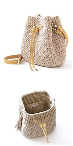 Beige bucket bag with tassels Woven everyday bag Vegan crochet shoulder handbag Summer beach bag Crossbody textile purse Wife idea gift Crochet Backpack, Bag Crochet, Crochet Handbags, Crochet Purses, Crochet Bag Tutorials, Crochet Patterns, Knitting Patterns, Jute Bags, Knitted Bags