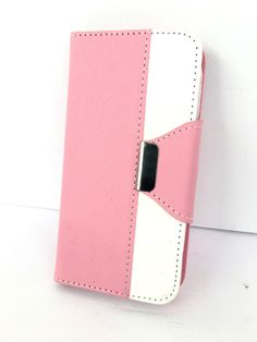 iPhone Pink White Case Magentic Closure & Wristlet