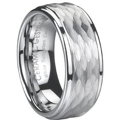 White Tungsten Ring. 8mm width. Hammered Design. Polished step edges. (avail. Sizes 5 to 14) Ceramic Gestalt®. $59.00. Flawless pure White Tungsten Carbide. A material much harder than Platinum or Gold.. 100% Satisfaction Guaranteed.. Original CeramicGestalt® Brand.. Timeless Wedding Band Design. Comfort Fit.