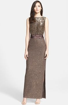 St. John Collection Paillette Tweed Knit Gown available at #Nordstrom - website says currently unavailable