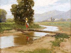 Landscape Painting by Laszlo Neogrady Hungarian Artist Nature Paintings, Landscape Paintings, Landscapes, Figure Painting, Contemporary Artists, Art History, Still Life, Country Roads, Fine Art