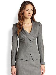 THE GOOD WIFE fashion. Armani Collezioni Micro Herringbone Draped Lapel Jacket