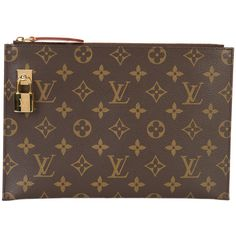 Louis Vuitton Vintage LV lock clutch bag ❤ liked on Polyvore featuring bags, handbags, clutches, locking purse, louis vuitton pochette, brown handbags, louis vuitton clutches and brown purse