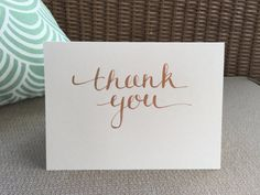 Gold & White handwritten calligraphy thank you notecard set // set of 10 by JACnotes