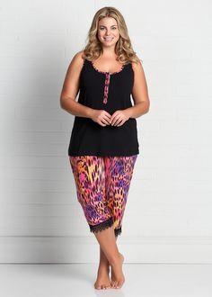 6a155fe6f7 Plus Size Sleepwear for Women - Large Size Sleepwear Australia - PANTHER PJ  SET - Virtu