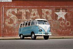 Blue split window VW bus
