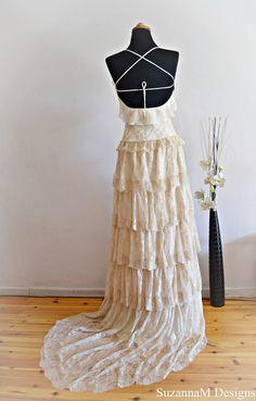 Cream Lace Bohemian Wedding Dress / Bridal Wedding Gown / Handmade by SuzannaM Designs. €608.58, via Etsy.