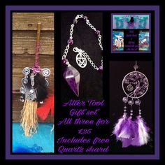 Alter Tool gift set includes 1 x small dream catcher worth £15, 1 x pendulum bracelet worth £12.50 and 1 mini alter broom worth £6.50 set includes free Quartz shard order all 3 for £25, ongoing offer, to order contact me to discuss your crystal combination mix or match colours and crystal free UK postage if outside the UK contact me for postage quote https://www.facebook.com/Witchyoble-1378484435792016/?fref=ts&hc_location=ufi
