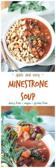 Easy Vegetarian Minestrone Soup w/ Pasta & Kale – a quick and easy veggie loaded soup using pantry and freezer staples. On your table in just about 30 minutes!