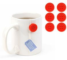 Unique Gifts and Tea Buttons at Perpetual Kid. Well bust our buttons!     What a great idea!                    Now you can keep your tea bag firmly in plac