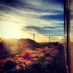 The train travelling through the Karoo on its way back from Cape Town. #RovosRail http://www.rovos.com/journeys/cape-town
