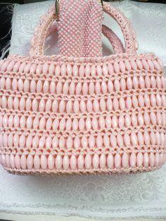 Vintage Pink straw and beaded purse  pink beads by ElegantiTesori