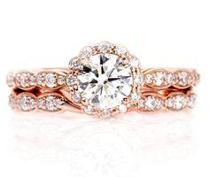 14K Rose Gold Moissanite Engagement Ring Wedding Set Wedding Band Diamond Halo Conflict Free