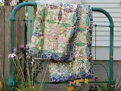 bed frames, mosaics, quilts, glass, stone