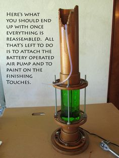 Industrial/corroded copper bubbling pipe lamp