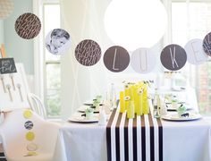 Stripe table runner w mint center piece instead of yellow