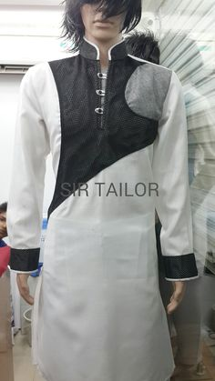 mens pathani designer and elegant look from SIR TAILOR. (chauta pull near sai belt behind bus stop surat Mr. African Shirts, African Wear, Indian Men Fashion, Mens Fashion Suits, Indian Groom Wear, Indian Wear, Pathani For Men, Gents Kurta Design, Polo Shirt Design