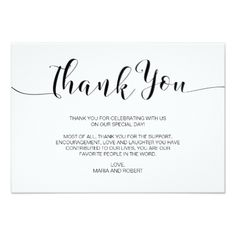 Minimalist Calligraphy Wedding Thank You Card Invitations Cards Custom Invitation Design Marriage Party