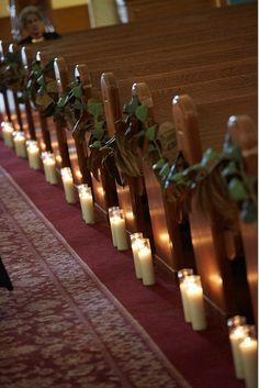 Church Aisle decor, candles and garland