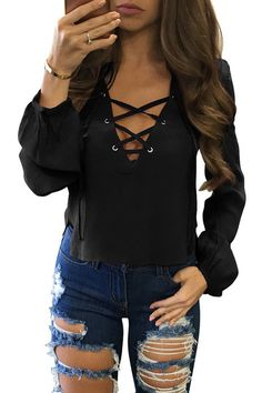 - Black V-neck Crossed Front Design Irregular Hem Top Blouse - US$15.95 -YOINS
